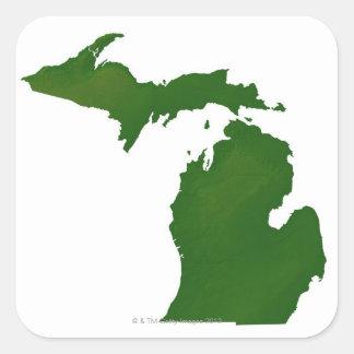 Mapa de Michigan Calcomanía Cuadradase