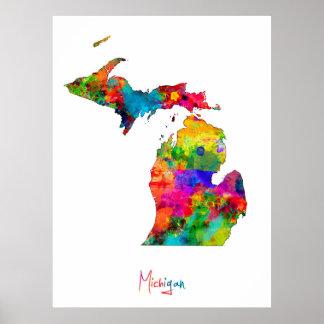 Mapa de Michigan Póster