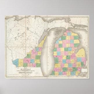 Mapa de Michigan y parte del territorio de Wiscons Posters