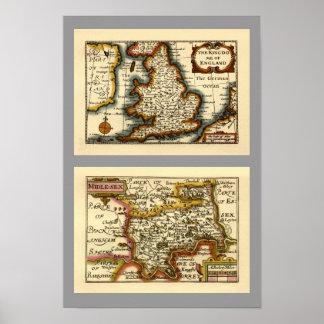 "Mapa de ""Middlesex"" el condado de Middlesex Póster"