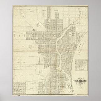 Mapa de Milwaukee Póster