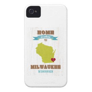 Mapa de Milwaukee, Wisconsin - casero está donde e iPhone 4 Case-Mate Protectores