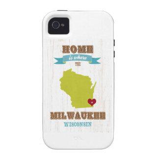 Mapa de Milwaukee, Wisconsin - casero está donde e iPhone 4 Fundas