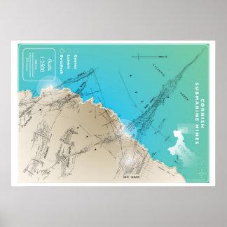 Mapa de mina submarino de Cornualles Poster