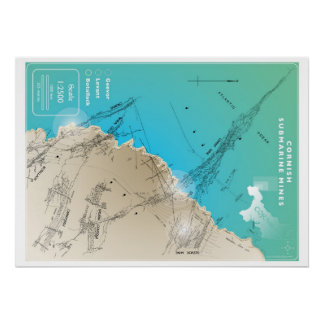 Mapa de mina submarino de Cornualles Póster