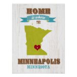 mapa de Minneapolis, Minnesota - casero es donde Impresiones