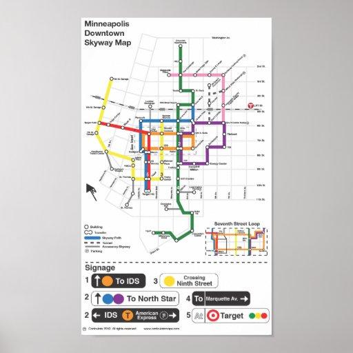 Mapa de Minneapolis Skyway Póster