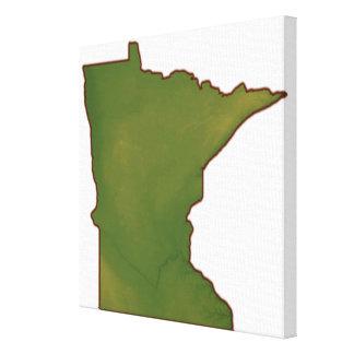 Mapa de Minnesota 2 Lona Envuelta Para Galerías
