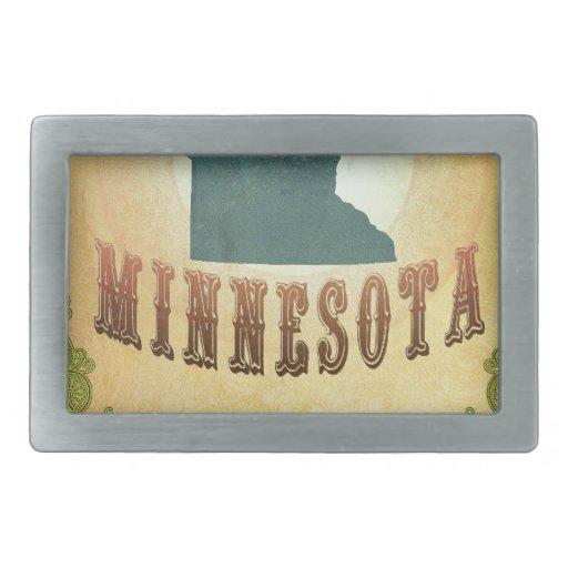 Mapa de Minnesota con los pájaros preciosos Hebillas De Cinturon