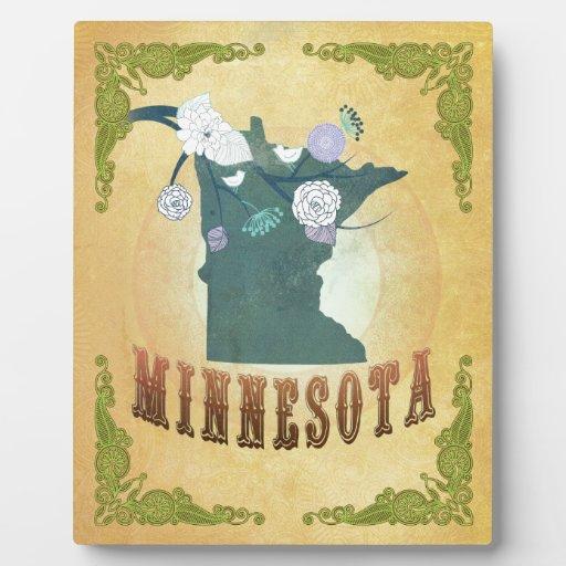 Mapa de Minnesota con los pájaros preciosos Placas Con Foto