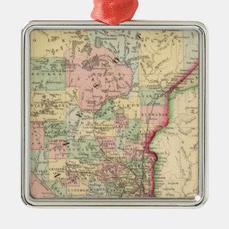 Mapa de Minnesota de Mitchell Adorno Cuadrado Plateado