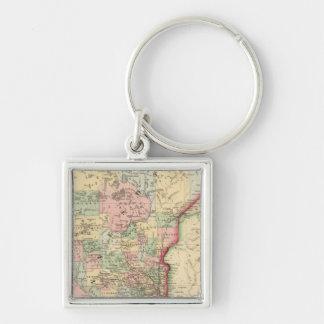 Mapa de Minnesota de Mitchell Llavero Cuadrado Plateado