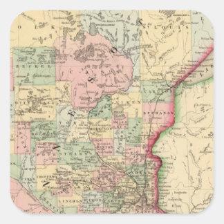Mapa de Minnesota de Mitchell Pegatina Cuadrada