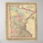 Mapa de Minnesota de Mitchell Póster