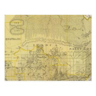 Mapa de Minnesota septentrional, 1874 Postales