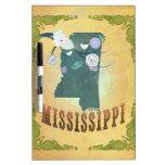 Mapa de Mississippi con los pájaros preciosos Tableros Blancos