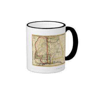 Mapa de Mississippi y de AlabamaPanoramic Tazas De Café