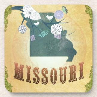 Mapa de Missouri con los pájaros preciosos Posavaso