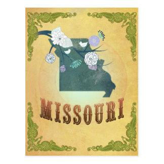 Mapa de Missouri con los pájaros preciosos Postal