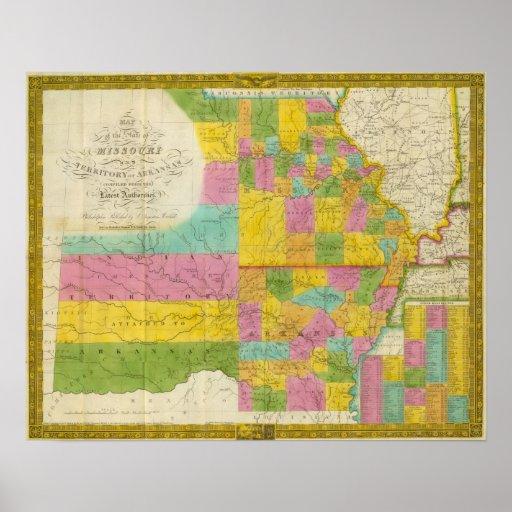 Mapa de Missouri Posters