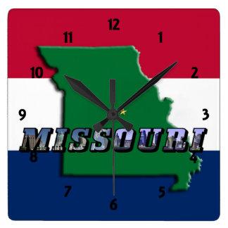 Mapa de Missouri, texto y reloj de la bandera del