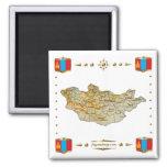 Mapa de Mongolia + Imán de las banderas