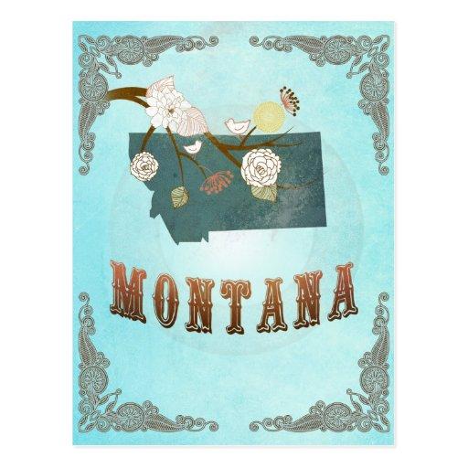 Mapa de Montana con los pájaros preciosos Tarjetas Postales