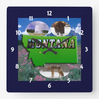 Mapa de Montana, texto de la imagen y reloj de los