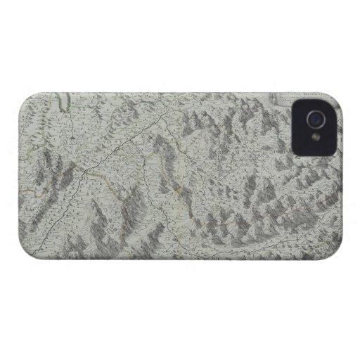 Mapa de montañas iPhone 4 Case-Mate fundas