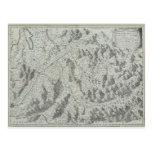 Mapa de montañas tarjeta postal