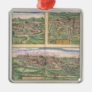 Mapa de Montpellier, viajes, y de Poitiers, de Adorno Cuadrado Plateado