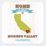 Mapa de Moreno Valley, California - casero es dond Pegatinas