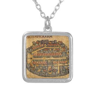 Mapa de mosaico de Madaba de Jerusalén Collar Plateado