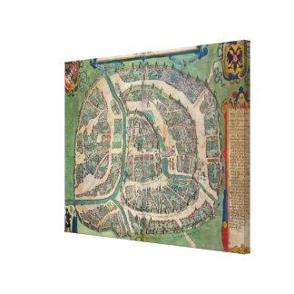 """Mapa de Moscú, de """"Civitates Orbis Terrarum"""" cerca Lona Envuelta Para Galerías"""