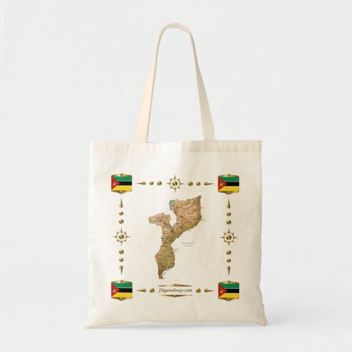 Mapa de Mozambique + Bolso de las banderas Bolsas