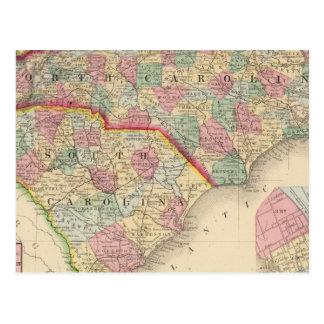 Mapa de N y de S Carolina de Mitchell Postal