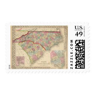 Mapa de N y de S Carolina de Mitchell Sellos
