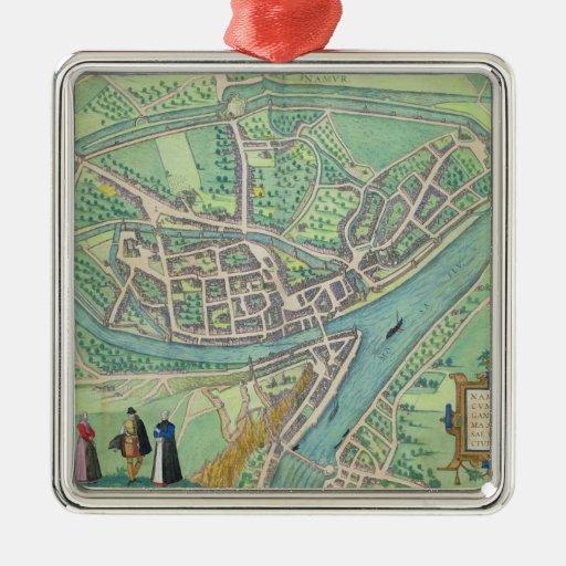 "Mapa de Namur, de ""Civitates Orbis Terrarum"" por G Adorno Cuadrado Plateado"