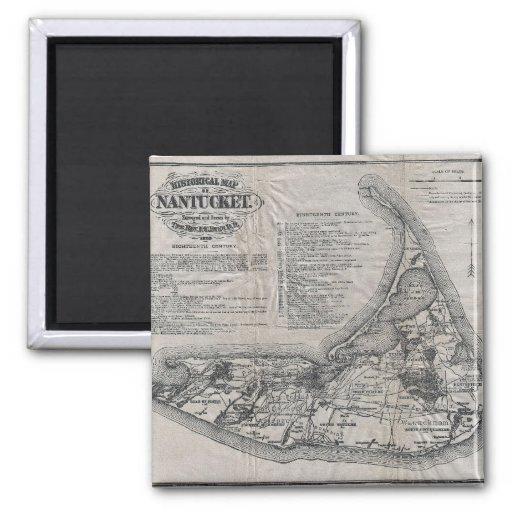 Mapa de Nantucket del vintage Imán Cuadrado