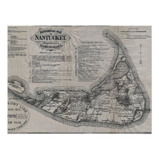 Mapa de Nantucket del vintage Póster