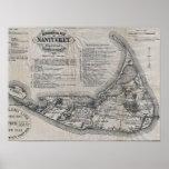 Mapa de Nantucket del vintage Posters
