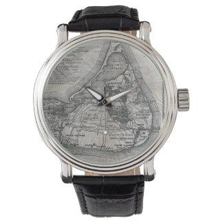 Mapa de Nantucket del vintage Relojes De Pulsera