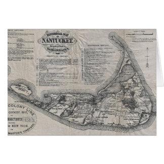 Mapa de Nantucket del vintage Tarjeta De Felicitación