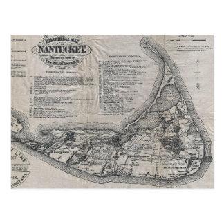 Mapa de Nantucket del vintage Postal