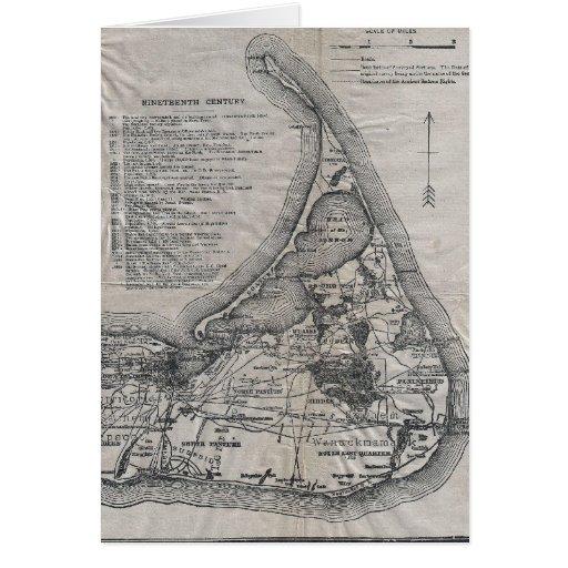 Mapa de Nantucket del vintage Tarjetas