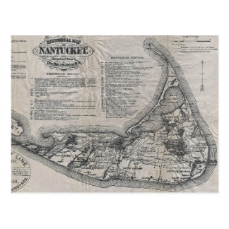 Mapa de Nantucket del vintage Tarjetas Postales