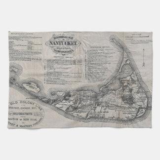 Mapa de Nantucket del vintage Toalla