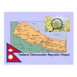 Mapa de Nepal Tarjeta Postal