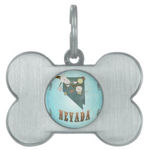 Mapa de Nevada con los pájaros preciosos Placas De Nombre De Mascota