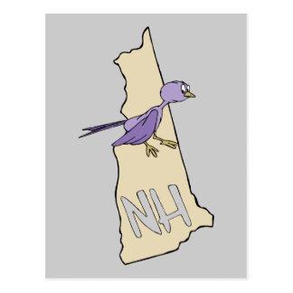 Mapa de New Hampshire NH con el pinzón púrpura Postales